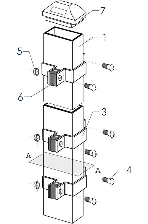 Panele ogrodzeniowe 2V - aksonometria typ A