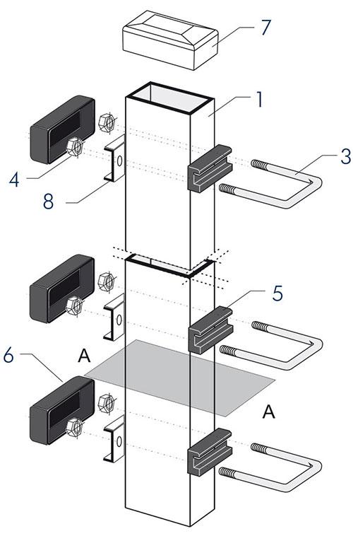 Panele ogrodzeniowe 2V - aksonometria typ B